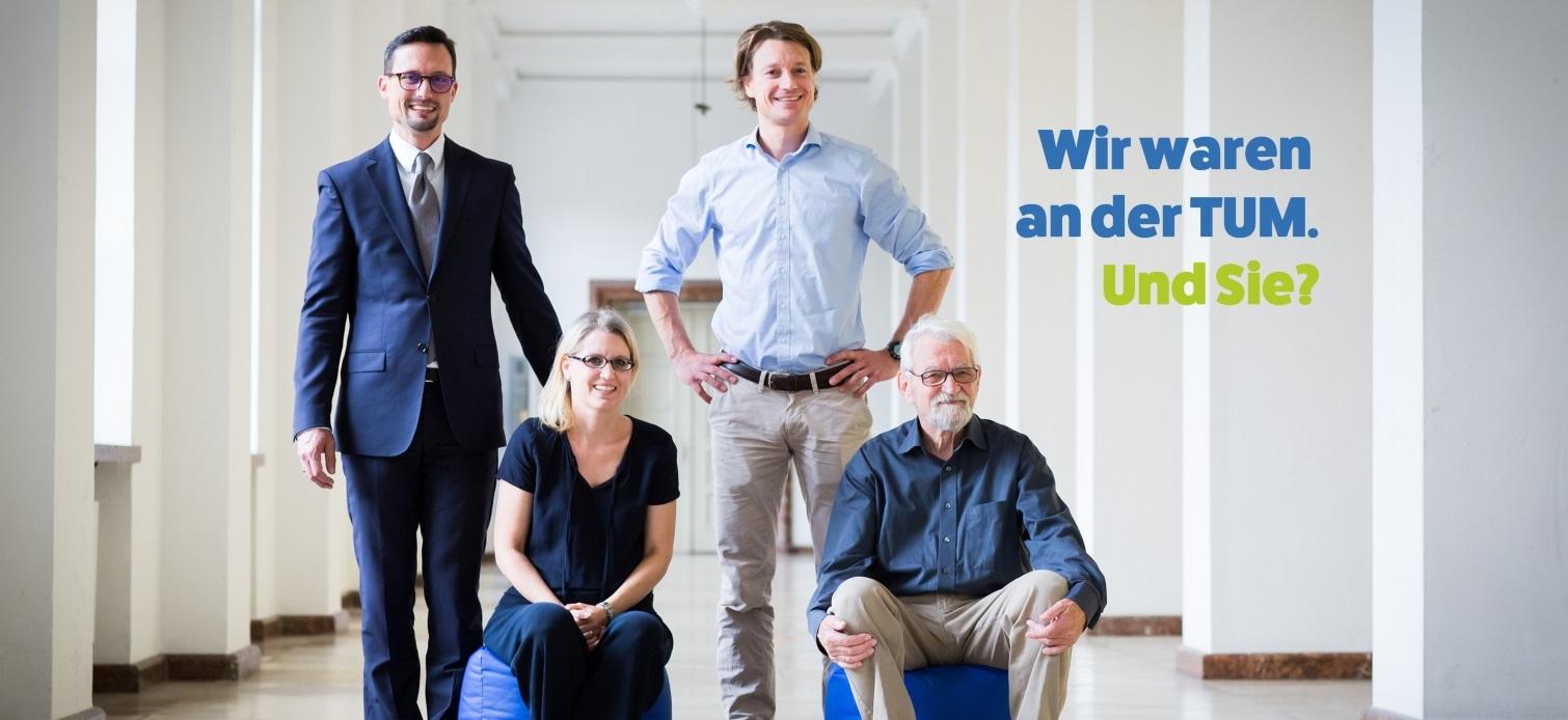 Zurück an der TUM: Stefan Michael Fiegle (hinten links), Dr. Christoph Rapp (hinten rechts), Dr. Stephanie Rapp und Vater Prof. Dr. Robert Rapp (Foto: Jooß/TUM).