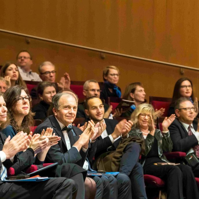 TUM Ambassadors and audience at the Advent concert Vivat TUM 2018 in the Munich Philharmonic Hall