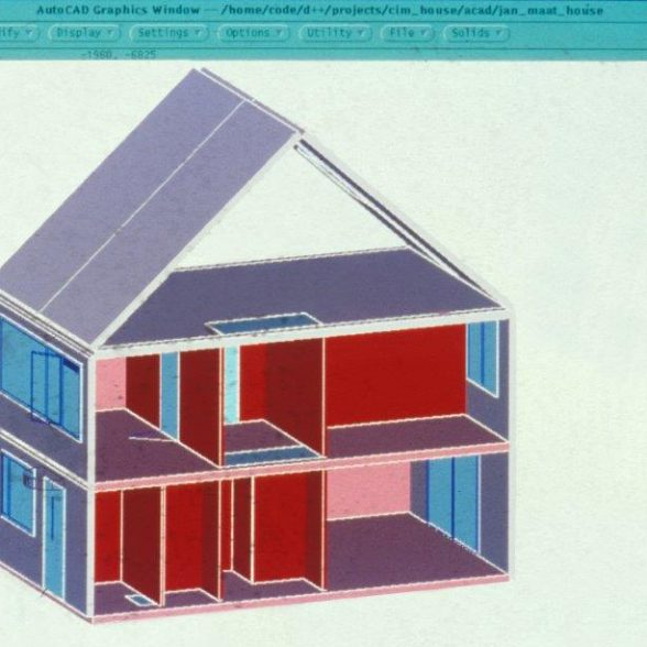 CAD-Skizze von TUM Alumnus Prof. Richard Junge, Sammlung des Lehrstuhls für Architekturinformatik, Technische Universität München.