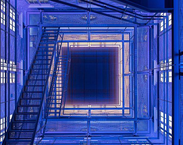 The interior of the TUM clock Tower – illuminated in blue.