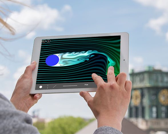 The fluid dynamics simulation in the app can be influenced by touch gestures.