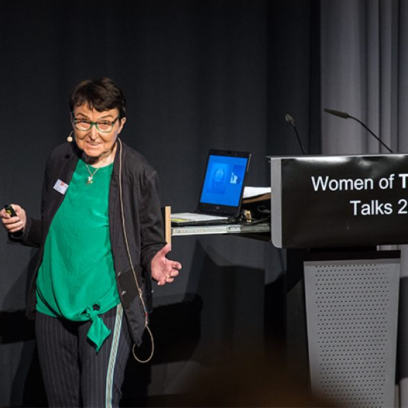 TUM Alumna Prof. Dr. Eveline Gottzein at the Women of TUM Talks 2018 at the University for Film and Television (HFF) in Munich