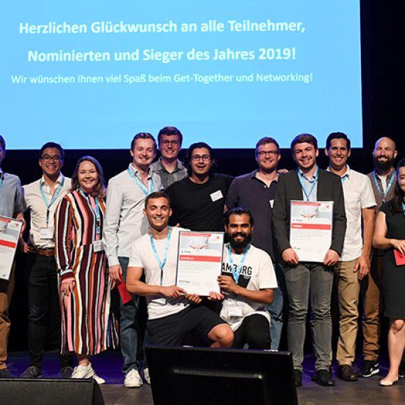 Die Gewinner des Münchener Businessplan Wettbewerb, die Start-ups prezise.ai, m-Bee und Orbem, alle Ausgründungen der Technischen Universität München