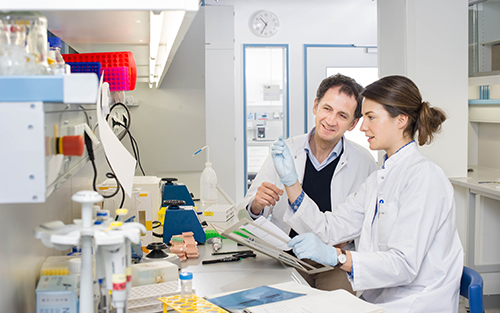 A female scientist and a male scientist at laboratory work.