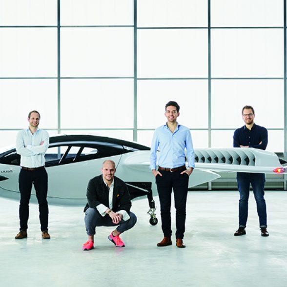 The TUM Alumni Daniel Wiegand, Sebastian Born, Matthias Meiner and Patrick Nathen with their flying taxi.
