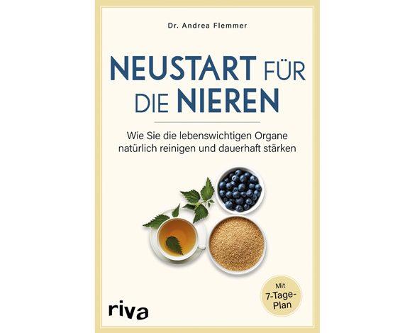 """Book cover of the title """"Neustart für die Nieren"""", riva Verlag, by TUM alumna Dr. Andrea Flemmer, Technische Universität München."""