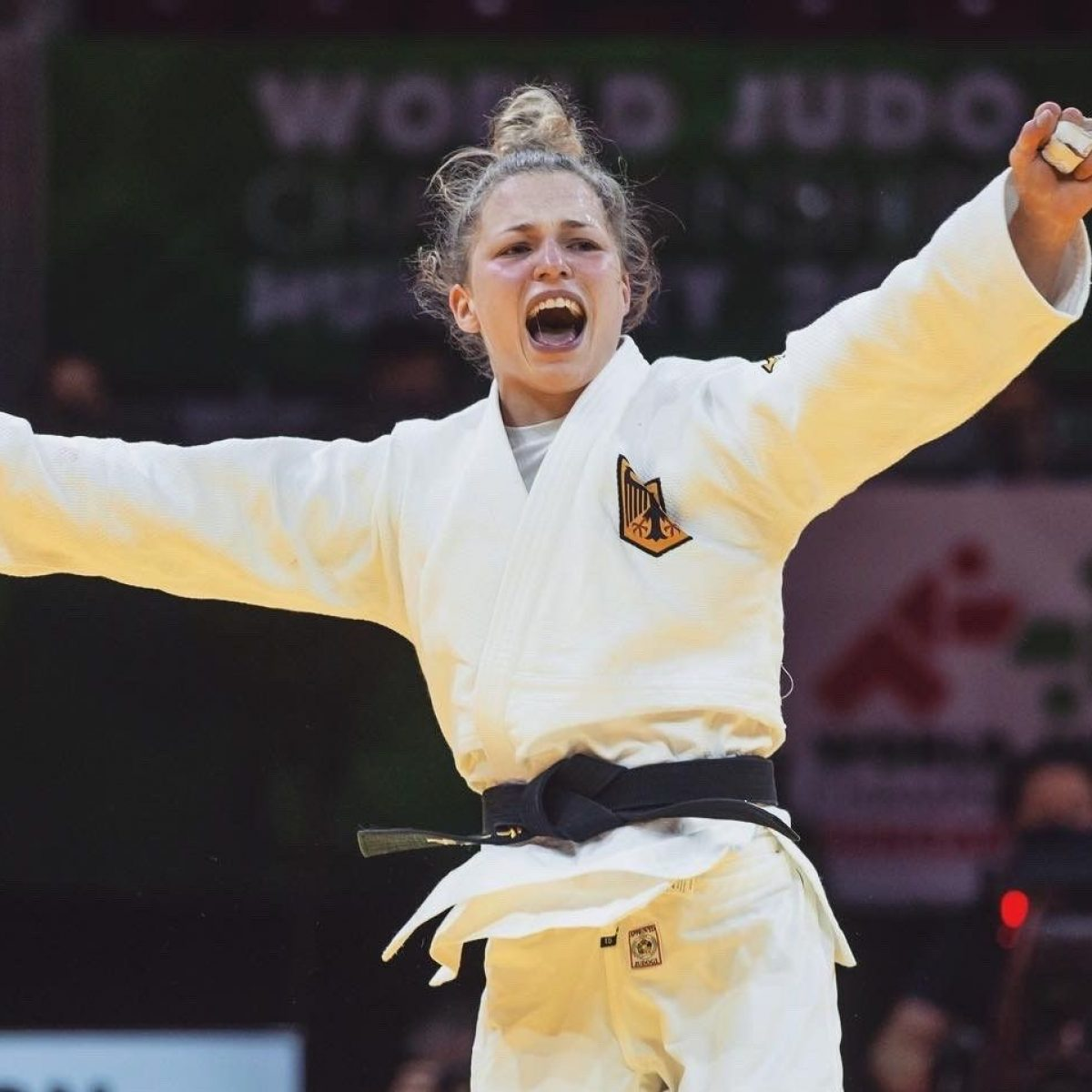 TUM student Theresa Stoll is one of the world's best in Judo. The picture shows her after winning the bronze medal match against the reigning world champion at the World Championships in Budapest 2021 (photo: Di Feliciantonio Emanuele / International Judo Federation).